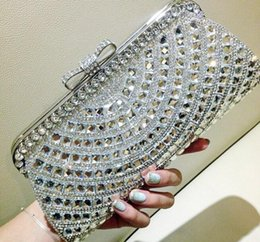 Wholesale Evening Metal Clutches - New Latest Fashion Women Wedding Bridal Handbags Crystal Rhinestone Silver Stain Metal Hard Box Bow Evening Clutch Bag Shoulder Purse