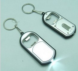 Wholesale Silver Plated Wedding Favors - Unique Favors Wedding Gift LED Keychain with Bottle Opener Key Chain Ring Can be Print LOGO Free Shipping