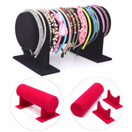 Wholesale Display Jewellery Bracelets Watches - 2015 New Velvet Jewelry Display Bangle Bracelet Chain Watch Holder Shop Display Rack Accessories Stand Jewellery Case Hot Sale