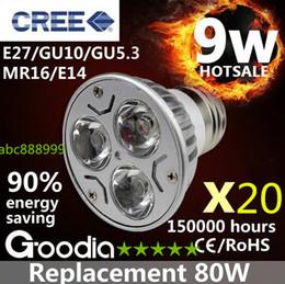 Argentina 20pcs / lot CREE 9W llevó la luz de bulbo E27 / GU140 / GU5.3 / MR16 / E14 DC12V Seguridad bombilla del proyector Blanco cálido / blanco fresco ENVÍO GRATIS Suministro