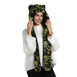 Wholesale Russian Winter Hat Ushanka - Warm Winter Hat For Women 2017 Ushanka hat 100% Polyester Womens Hat and Scarf With Pocket Army Green Russian Cap