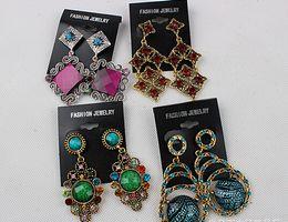 Wholesale Fashion Jewelry Boutiques - Fashion women big earrings vintage dangle chandelier pendants earring stud charm jewelry colorful gem Boutique hook dress ball Party 100pair