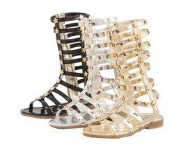 ac3982f2f46 fashion Infant Toddler Kid Children Fashion Gladiator Sandals Black Silver  Golden Baby Girl Summer Boots 2-9Years Sapatos Infantil