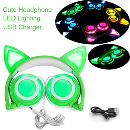 Wholesale Chinese Adults Girls - Cat Ear Headphones LED Glowing Light with USB Charger, New Foldable Noise Cancelling Headsets for Kids Girls,Boys, Adults