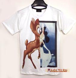 Ciervos de las muchachas top de la impresión online-Raisevern lindo de dibujos animados 3D camiseta bambi ciervos patrón creativo imprimir moda camiseta blanco negro camiseta chico / chica camiseta superior ocasional FG1510