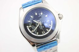Wholesale Map Watches - Luxury Brand Quartz Blue Map Dial Mens Silver stainless Blet Stainless Steel Pointer Fashion Mens watches