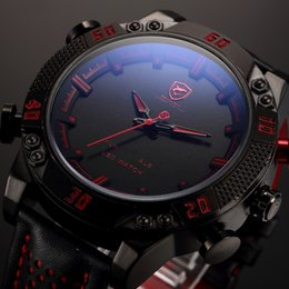 Wholesale Digital Leather Watch - Kitefin Shark Luxury Brand Sport Watches Men Relogio Masculino Dual Time Alarm Leather Strap Wristwatch Mens Military Digital Watch   SH261