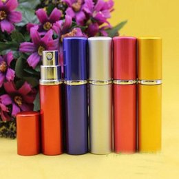 Wholesale travel atomizer refillable - 7 Colors 5CC Smooth Aluminium Compact Perfume Bottle 5ml Refillable Perfume Atomizer Travel Bottles Fragrance Glass Spray Bottles Fragrances