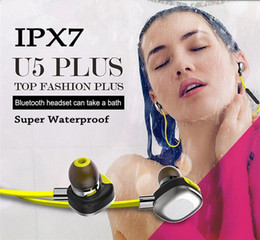 Wholesale Nfc Cell - Super IPX7 Waterproof Headphones U5 Plus Bluetooth NFC Earphone Sports Stereo Headsets Running Swimming Shower Hifi Music Player Support APP