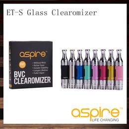 Gafas online-Aspire ETS Glass BVC Clearomizer ET-S BDC Atomizador de vidrio 3ML Aspire ETS Glassomizer con cabeza de bobina de repuesto BVC BDC