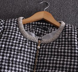 Wholesale inclined zipper jacket - Wholesale-2015 Fashion Brand Women Wadded Coat Asymmetric Inclined Zipper Design Classic Argyle Cotton-padded Jacket Coat