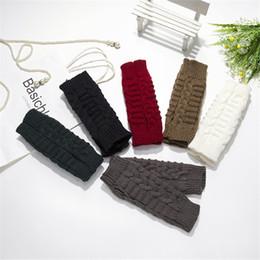 Wholesale Knit Opera - 2017 new female knitting wool gloves Half Finger Gloves warm winter bamboo short arm sleeve Wristband