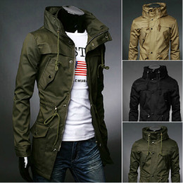 Wholesale Mens Green Cotton Jacket - New 2016 Autumn Winter High quality Fashion Mens Trench coat Men long coat Winter Jacket Man long coat Outdoor Overcoat
