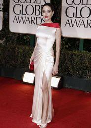 Wholesale Satin Dress Jolie - Angelina Jolie 2016 satin Celebrity red carpet dresses asymmetrical neck sheath evening dresses side split floor length prom dress