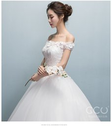 Wholesale Simple Wedding Dresses Korean Style - One word shoulder wedding dress 2017 spring and summer new bride marriage Korean style simple and thin dream flower