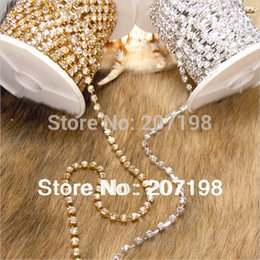 Wholesale Chaton Strass - Wholesale-(20 yard lot) 2mm Rhinestone Cup Chain Silver & Gold, Crystal Strass Chain, MC Chaton Cup Chain Apparel Crystal Trimming