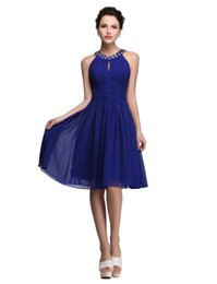 Wholesale Maternity Party Bridesmaid Formal Dress - 2017 New Royal Blue Prom Dresses Girls Party Dresses Knee Length Evening Gown Dress Homecoming Dresses Short Formal Beaded Dress Real Photos