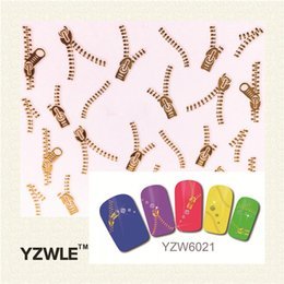 Wholesale Zipper Sticker Nails - Wholesale- YZWLE 1 Sheets Fashion 3D DIY Gold Zipper Design Nail Art Sticker&Decal Manicure Nail Tools
