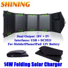 Wholesale Solar Panel Batteries Wholesale - Portable 14W Dual Output Waterproof Folding Foldable 5V Solar Panel Charger Solar Mobile Phone iPad Tablet 12V Battery Charger