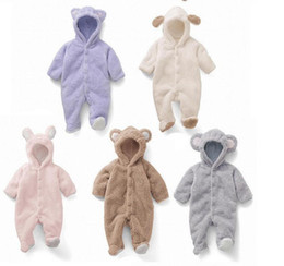 Wholesale Baby Clothes Model - Baby Jumpsuit stereo modelling Coral Fleece little bear Baby Bag feet Romper winter baby climb clothes