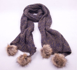 Wholesale Mohair Wraps - Blue Women's Scarf mohair MAGLIERIA Long shawl Wraps With Rabbit Fur Ball 200x38cm