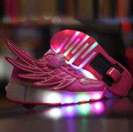 Wholesale Single Wheel Shoes - Wing PU leather Single Wheel Glowing Sneaker LED Light Mesh Casual Shoes Boys Girls Little Kids Big Kids Flashing 29-40