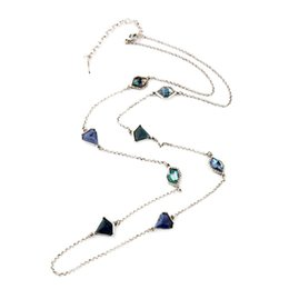Wholesale Emerald Strings - 2016 Bevel Sapphire Necklace Shape Stones Station Sweater Necklaces Vintage Silver Pyramid Emerald Charms Free Shipping