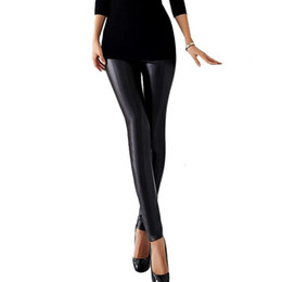 Wholesale Sexy Women S Leather Pants - Womens Girls Sexy Skinny Stretch Faux Leather Leggings For Women Fitness Pencil Pants Legging Black Club Leggin 9R