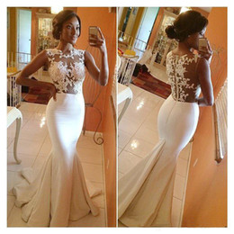 Wholesale jewel brush - 2015 Hot Sale Bateau Mermaid Prom Dresses Appliques Sheer Lace Brush Train Formal Evening Dress Celebrity Gowns Bridesmaid Gown BO5688 2014