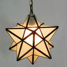 Wholesale Art Deco Shapes - Novelty Star Shaped Tiffany Glass Pendant Lamp Art Decors Bar Aisle Pendant Light Warm Lighting Nordic Brief 30cm Dia Droplight