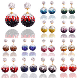 Wholesale Earrings Mix Color Hot Sale - Hot Sale Shamballa Double Earrings Jewelry Shiny 16mm 8mm CZ Crystal Ball Stud Earring Mix Color Free 50Pairs lot