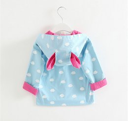 Wholesale 2017 New Girl Coat Children Cloud Printed Dust Coat with Pocket and Bunny Ears Hoodie Kids Clothes