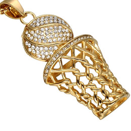 Wholesale Rhinestone Basketball Jewelry - CWFY Iced Out Bling Full Rhinestone Men Basketball Pendants Necklaces Gold Stainless Steel Sports Necklace for Men Jewelry