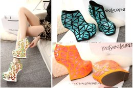 Wholesale Dancing Heels Boots - Brand New Lady gaga style autumn women boots sexy dancing woman ankle boots mixed color curved heels no heel shoes pumps big size 41 42 43