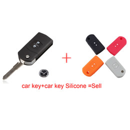 Wholesale Silicone Mazda Key - 2 Button Remote Key Fob Shell Case Folding Flip With Uncut Blade For Mazda 3 5 6 Free shipping CR1620 with car key Silicone