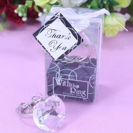 Wholesale Christening Favours - Wholesale- Party Favor Supply Creative Heart-shaped Crystal Ring Keychain Bridal Baby Shower Christening Wedding Favours Bomboniere Gift