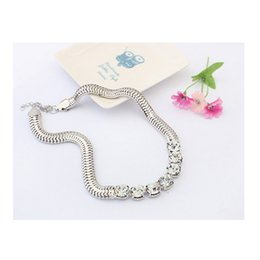 Wholesale Punk Coarse Chain Necklaces - Fashion Korean Punk Coarse Snake Chain Women Royal Rhinestone Bling Short Round Crystal Necklace New Female Statement Jewelry
