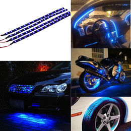 Wholesale Truck Led Strips - 30CM 15 LED Car Motors Truck Flexible Strip Light Waterproof 12V 4 Colors Blue Red Warm white  White Free shipping