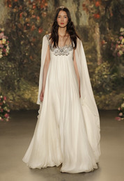 Wholesale Long Sleeve Dress Shawl - cape shawl sleeves wedding dresses 2017 jenny packham bridal gowns sheer neckline with beaded wedding gowns