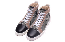 Wholesale M Shade - Luxury Brand Red Bottom Sneakers Black Suede with Spikes Casual Mens Womens Shoes Stripe check shading Trainers Footwear Flat Shoes
