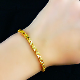 Wholesale Womens Anklets Charms - charm Gold plated bell anklets bracelets female gold filled fashion sand jewelry 3mm wide Womens Bracelet