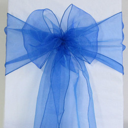 Wholesale Wedding Chair Sashes Royal Blue - 50 Royal Blue Organza Chair Sash Cover Bow Wedding Party Banquet Shimmering High Quality Brand New -SASH