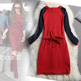 Wholesale Color Block Dress Long Sleeve - 2017 New Autumn European Women Dress Victoria Beckham Fashion Color Block Lacing Red One-piece Dress Long Sleeve