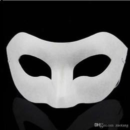 Wholesale Masks Art - Plain White Environmental Paper Pulp Zorro street dance Masks Half , DIY Hand painted Fine Art Programs 10pcs lot Free shipping