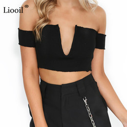 Wholesale cut off t shirts - Liooil Black White Off Shoulder Crop Top Knitted Short Sleeve Deep V Neck T Shirt Sexy Low Cut Tops Backless Night Club Tshirt q171118