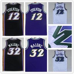 Wholesale Cheap Yellow Shirts - 2018 #12 Retro John Stockton Jersey Throwback,Stitched Wholesale Cheap #32 Karl Malone Basketball Jersey Black Purple white shirt