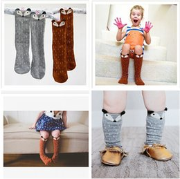 Wholesale Korean High Knee Socks - 2 colors Fashion korean 3D kids socks 2015 kids knee high fox sock children leg warmers girl children socks girls free shipping R0R727