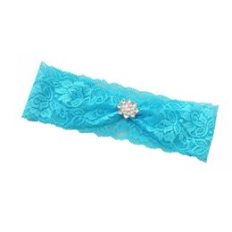 Wholesale Vintage Bridal Garters - 1pcs Hot Sexy Vintage Bridal Wedding Garter Toss Garter blue Stretch Lace with rhinestone 6.2cm width