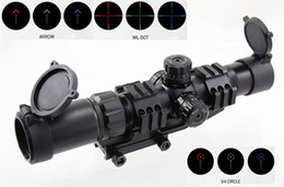 Wholesale Mil Dot Reticle Riflescope - Tactical ANS 1.5-4X30 Optical Tri-illuminated Red Green Blue CQB Riflescope with Locking Turrets MIL DOT or Arrow or 3 4 Circle Reticle Type
