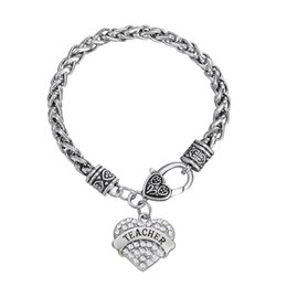 Wholesale Love Charms Lobster - To Teacher's Gift Fitness Bodybuilding TEACHER Rhinestone Mixcolor Crystal Heart Charm Bracelets For Women&Men Jewelry 50pcs a lot Rhodium